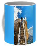 Hiker On Wooden Staircase Coffee Mug