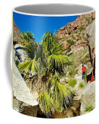 Hikers At Oasis On Borrego Palm Canyon Trail In Anza-borrego Desert Sp-ca  Coffee Mug