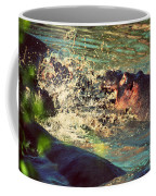 Hippopotamus Fight In River. Serengeti. Tanzania Coffee Mug