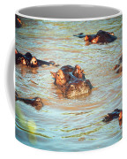 Hippopotamus Group In River. Serengeti. Tanzania Coffee Mug