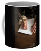 Historical Senior Man Writing With A Quill Pen Coffee Mug