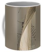 Hoisting The Mainsail In Sepia Coffee Mug