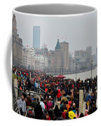 Holiday Crowds Throng The Bund In Shanghai China Coffee Mug