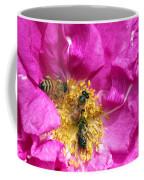 Honeybees On Pink Rose Coffee Mug