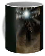 Hooded Man Holding Glowing Wizard Staff  Coffee Mug