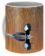 Hooded Merganser At Sunset Coffee Mug