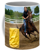 Horse And Rider In Barrel Race Coffee Mug by Amy Cicconi