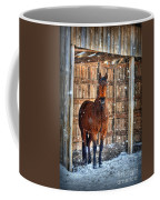 Horse And Snow Storm Coffee Mug by Dan Friend