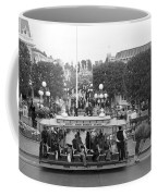 Horse And Trolley Main Street Disneyland Bw Coffee Mug