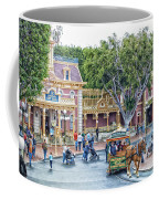 Horse And Trolley Turning Main Street Disneyland 01 Coffee Mug