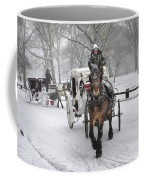 Horse Carriages In Snowy Park Coffee Mug