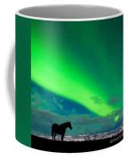 Horse Distant Snowy Peaks With Northern Lights Sky Coffee Mug