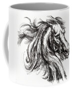 Horse Face Ink Sketch Drawing - Inventing A Horse Coffee Mug