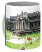 Horse In Front Of Outer Building In Angkor Wat In Angkin Angkor Wat Archeological Park-cambodia Coffee Mug
