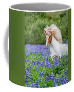 Horse Running By Lupines. Purebred Coffee Mug