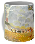 Horses Drinking In The Early Morning Mist Coffee Mug