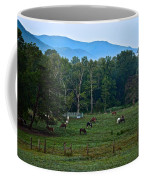 Horses Graze At Dawn Coffee Mug
