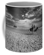 Horses On The Beach Bw Coffee Mug