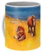 Horses On The Coast Of Brittany Coffee Mug