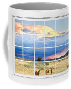 Horses On The Storm Large White Picture Window Frame View Coffee Mug
