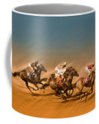 Horses Racing To The Finish Line Coffee Mug