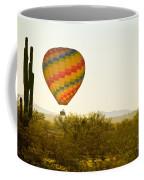 Hot Air Balloon In The Lush Arizona Desert With Saguaro Cactus Coffee Mug