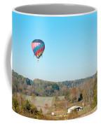 Hot Air Balloon Over Farm Land Coffee Mug