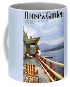 House & Garden Cover Of Women Sitting On The Deck Coffee Mug