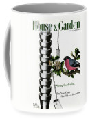 House And Garden Cover Featuring Pots And A Bird Coffee Mug