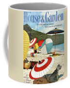 House And Garden Featuring Umbrellas On A Beach Coffee Mug