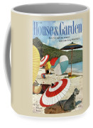 House And Garden Featuring Umbrellas On A Beach Coffee Mug