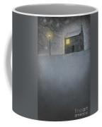 House In Snow With Lamp Coffee Mug