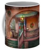 House - Porch - Metuchen Nj - That Yule Tide Spirit Coffee Mug by Mike Savad