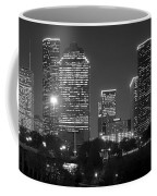 Houston Skyline At Night Black And White Bw Coffee Mug