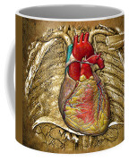 Human Heart Over Vintage Chart Of An Open Chest Cavity Coffee Mug