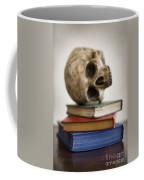 Human Skull And Books Coffee Mug