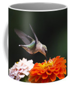 Hummingbird In Flight With Orange Zinnia Flower Coffee Mug by Christina Rollo