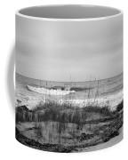 Hunting Island Beach In Black And White Coffee Mug