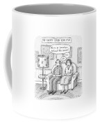 Husband And Wife Discuss Summer Plans On A Couch Coffee Mug