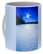 Ice And Snow Frozen Over Lake On Sunny Day Coffee Mug