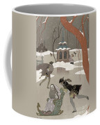 Ice Skating On The Frozen Lake Coffee Mug by Georges Barbier