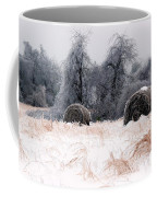 Ice Storm And Hay Bales In The Blue Rdige Mountains Coffee Mug