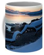 Icy Snowy Winter Sunrise On The Lake Coffee Mug