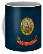 Idaho State Flag Art On Worn Canvas Coffee Mug by Design Turnpike