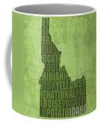 Idaho State Word Art Map On Canvas Coffee Mug