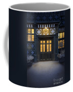 Illuminated Doorway To A Timber Framed Tudor House Or Mansion At Coffee Mug