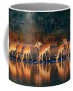 Impala Herd With Reflections In Water Coffee Mug