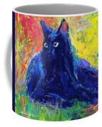 Impasto Black Cat Painting Coffee Mug