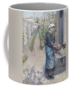 In The Garden At Pontoise A Young Woman Coffee Mug