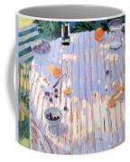 In The Garden Table With Oranges  Coffee Mug by Sarah Butterfield